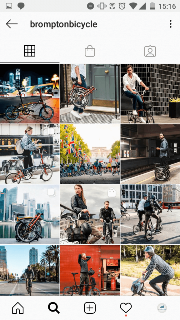Screenshot of the Brompton Bicycle profile on Instagram. They have a product catalog on their profile, and tag products in very few posts - about 1 in every 10 posts has a shopping tag.