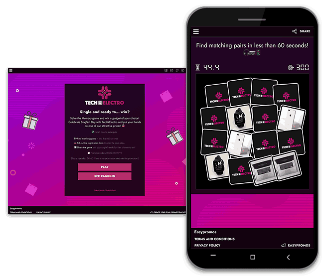 Screenshot of a Singles' Day promotion idea: a branded Memory game organized by a tech company.