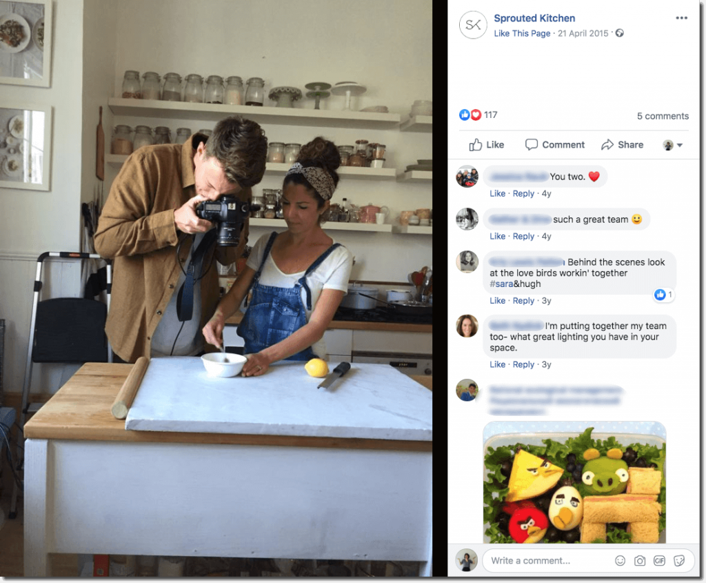 Screenshot of a Sprouted Kitchen post on Facebook. The photo is a behind the scenes shot of the chef working at the table while her partner takes photos. In the comments, people praise their relationship and photography skills.