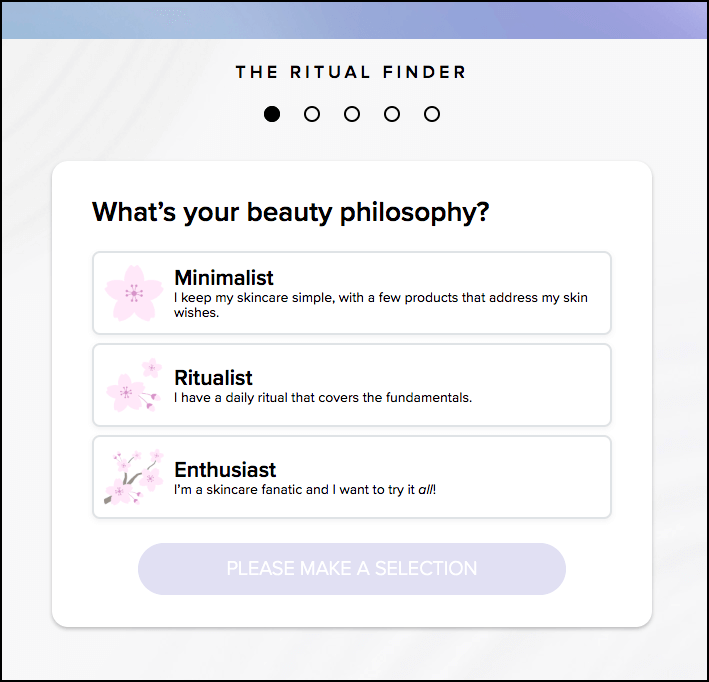 "Screenshot of the Tatcha beauty quiz product recommender. The first question asks customers whether they are ""minimalists"", ""ritualists"", or ""enthusiasts"" about skincare."
