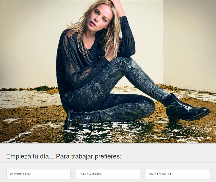 Screenshot of a personality quiz to promote a fashion collection. The image shows a young blonde woman sitting on the floor, dressed in dark jeans, a black shirt, and black boots. The floor is covered in gold sequins. Below the photo, users are asked to choose their ideal outfit for a day at work.