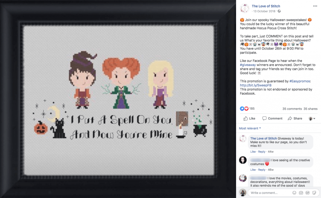 Halloween promotions on Facebook: in this giveaway, followers can win a cross stitch design of the main characters from hit movie Hocus Pocus.
