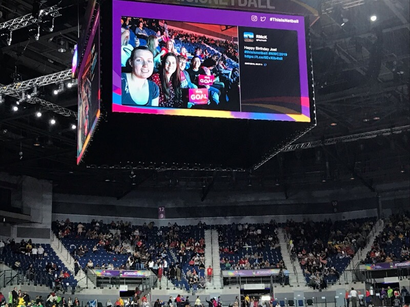 Image of the screens at the Netball World Cup