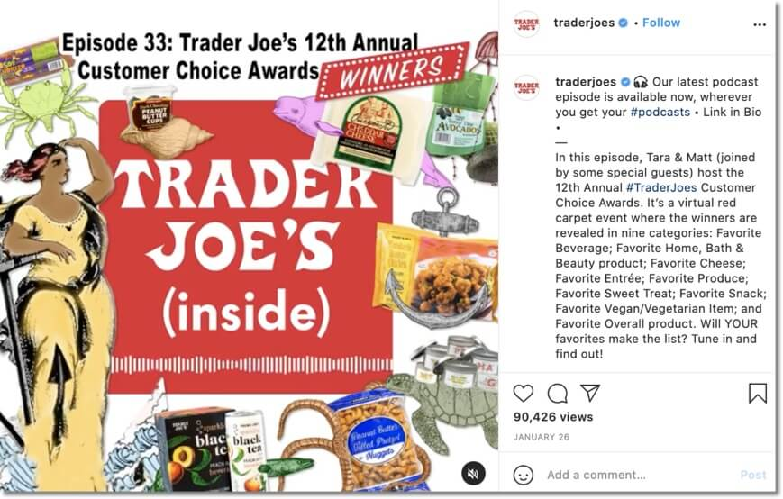 promote your instagram giveaways with visual content: example from Trader Joe's