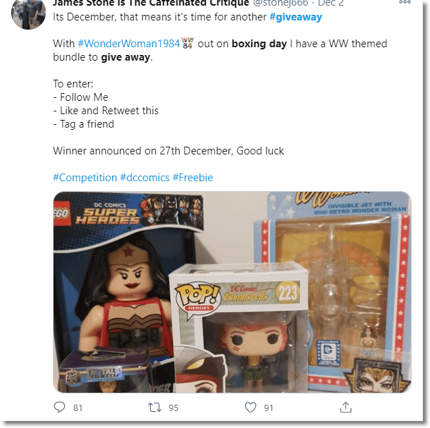 Screenshot of a Twitter giveaway: a box of Wonder Woman themed gifts. Users are asked to follow, like, retweet and tag a friend to enter.