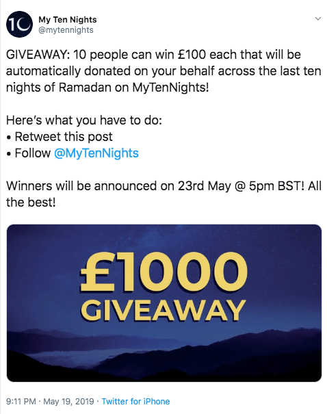 Screenshot of a Ramadan giveaway on Twitter. When people retweet and follow, they have a chance to win £100 to donate to charity.
