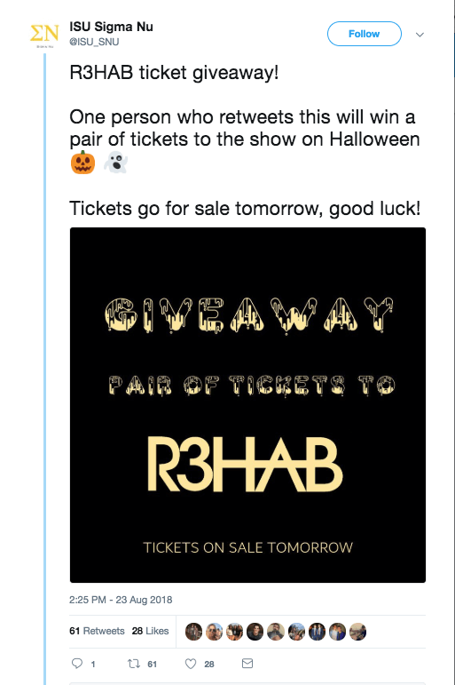 Example of a Halloween giveaway on social media: this brand is offering tickets to a Halloween show.