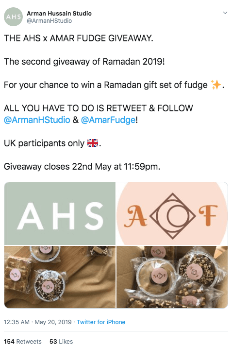 Screenshot of a Ramadan giveaway on Twitter. This is part of a giveaway series. Users retweet and follow the 2 brands who co-sponsor the event, for the chance to win a gift set of fudge sweets.