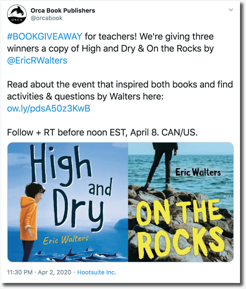 Twitter book giveaway organized by a publishing house
