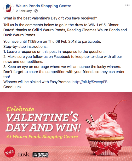 Valentine's Day giveaway on Facebook date restaurant voucher