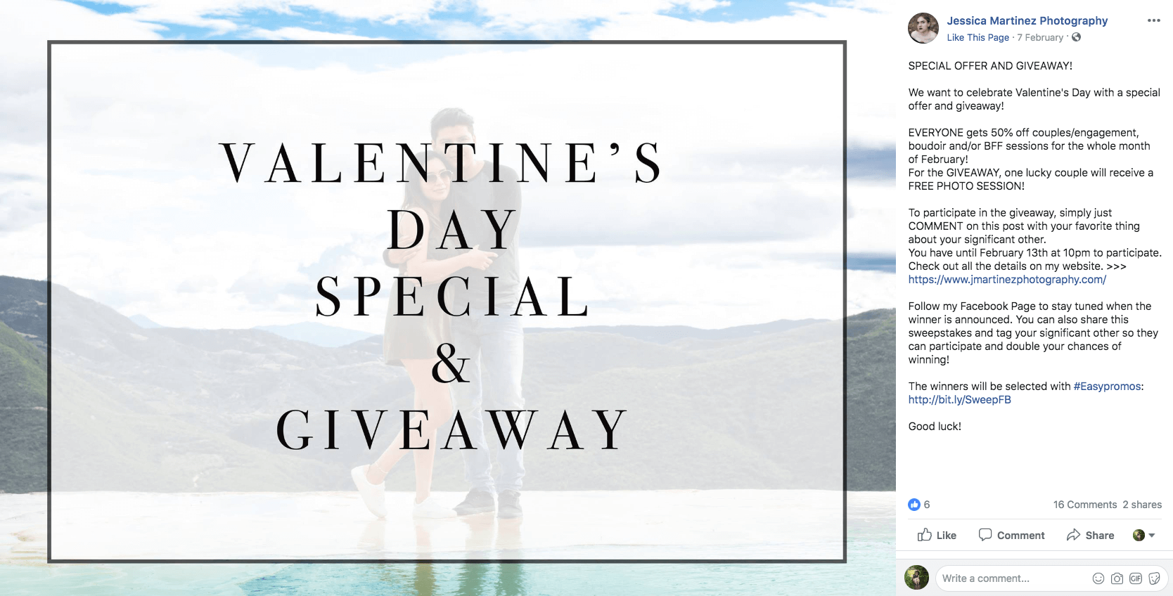 Valentine's Day giveaway on Facebook photoshoot photography