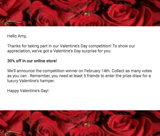 Follow-up email for Valentine's Day refer-a-friend contest