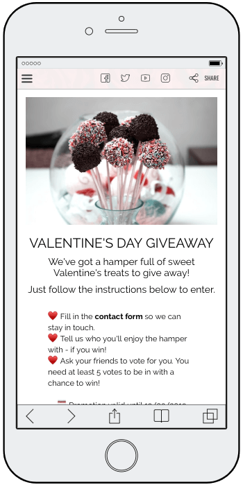 Homepage of Valentine's Day refer-a-friend contest