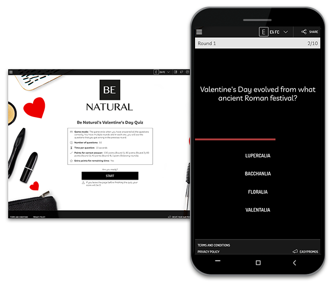 Valentine's Day campaign ideas: Timed Quiz.