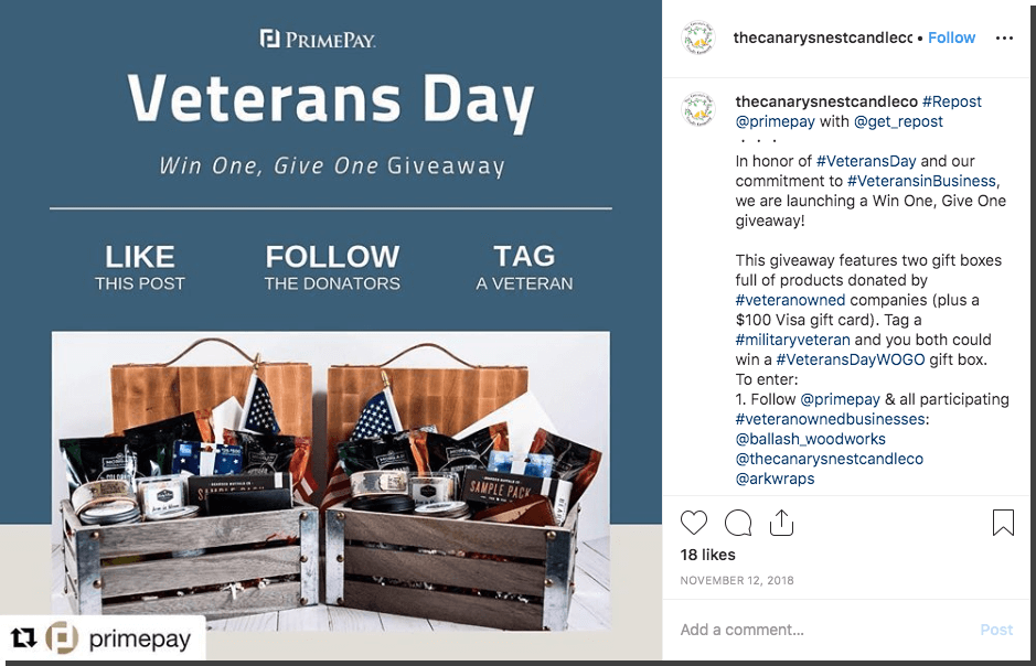 Veterans Day giveaway and donations on Instagram