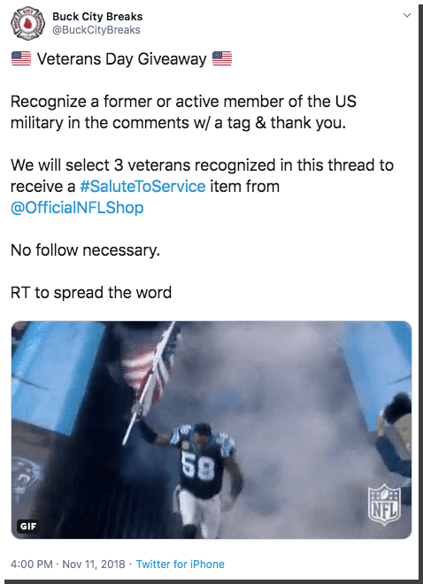 Veterans Day giveaway on Twitter