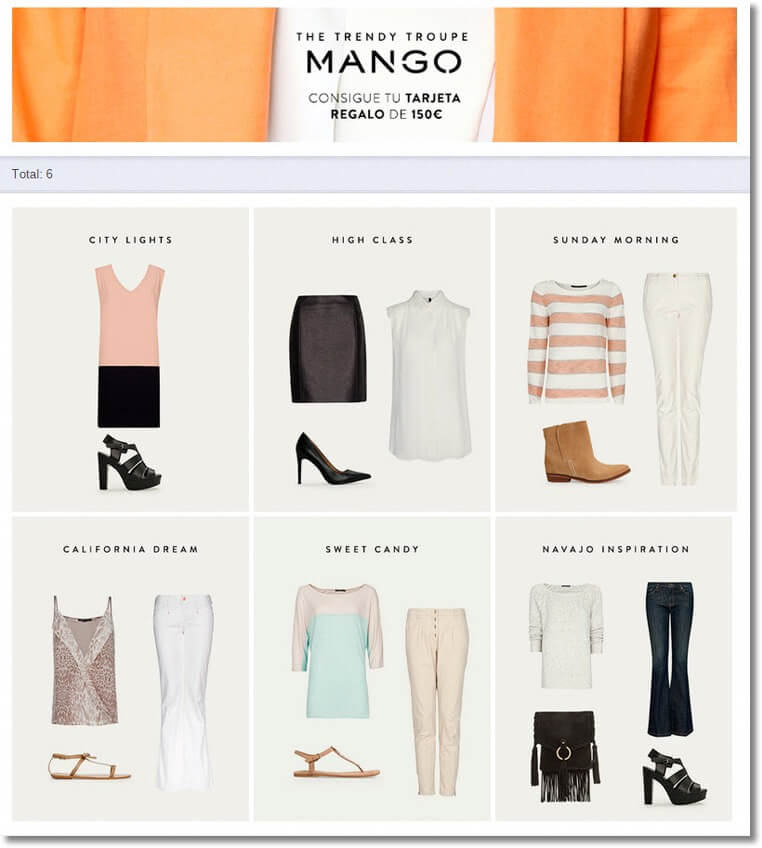 "Screenshot of a pick your favorite contest to promote a fashion collection. Users vote on different suggested outfits from the brand, including ""city lights"", ""high class"", ""Sunday morning"", and so on."