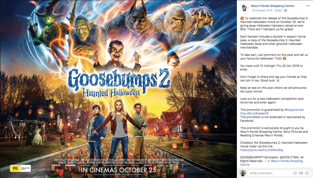 Halloween promotions on Facebook: in this giveaway, users can win Goosebumps-themed Halloween hampers. The main image of the giveaway post is a movie poster for Goosebumps 2: haunted Halloween.