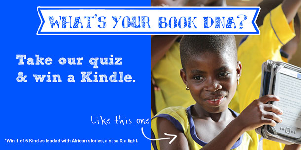 "The image shows a young girl in a yellow school uniform holding an e-reader. The title reads, ""What's your book DNA? Take our quiz and win a Kindle like this one."""