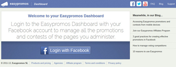 Access Easypromos Dashboard