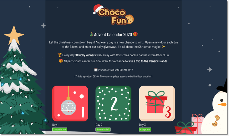Christmas promotion ideas for 2020: screenshot of branded Christmas advent calendar from Easypromos