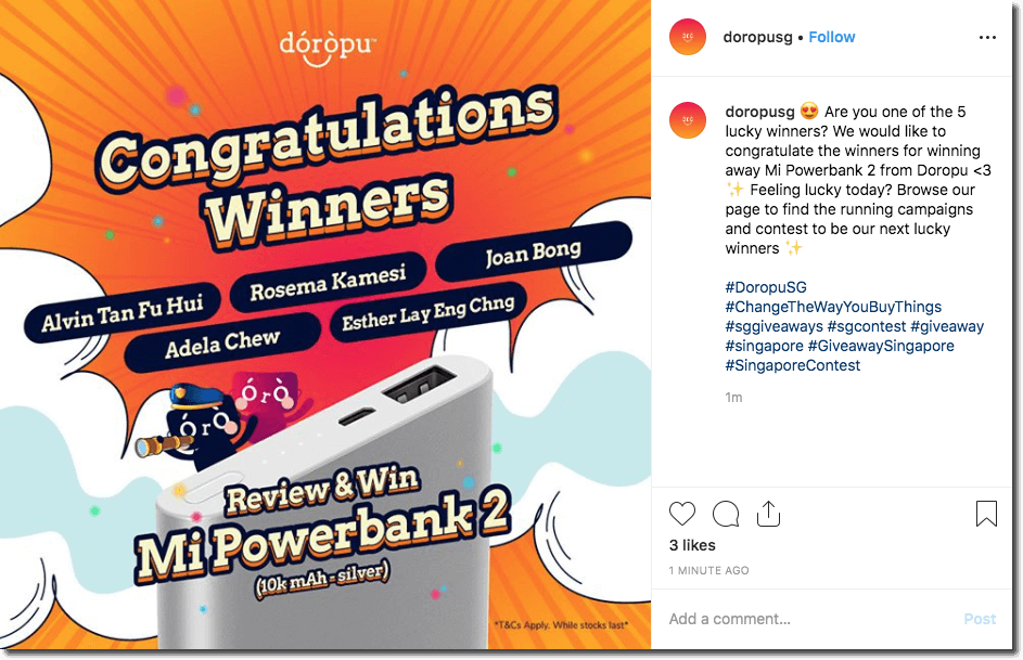 "Screenshot of an Instagram post announcing the winners of a giveaway. The image shows a bright orange explosion with clouds of smoke. The overlay text reads, ""Congratulations winners"", followed by the winners' names."