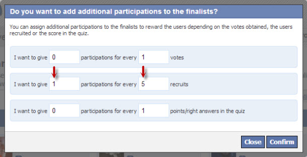 assignment of additional participations to the finalists