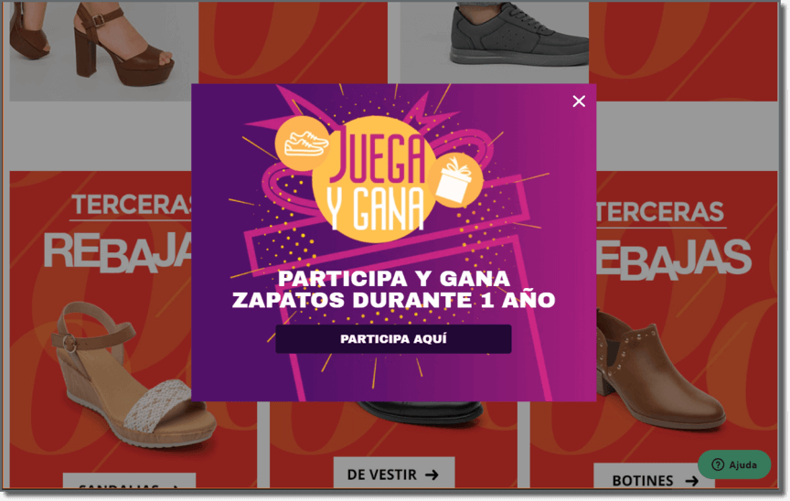 screenshot from Flexi - a Mexican shoe retailer to show an example of an interactive game promoted on an e-commerce site in a form of a pop up or banner.