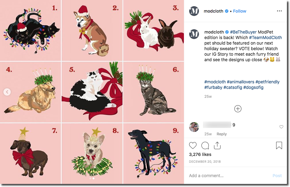 Screenshot of an Instagram giveaway to promote a fashion collection. The image shows 9 different cartoons of animals and holiday themes (for example, 2 cats playing with a string of Christmas tree lights). The caption invites users to comment with the number of their favorite design.