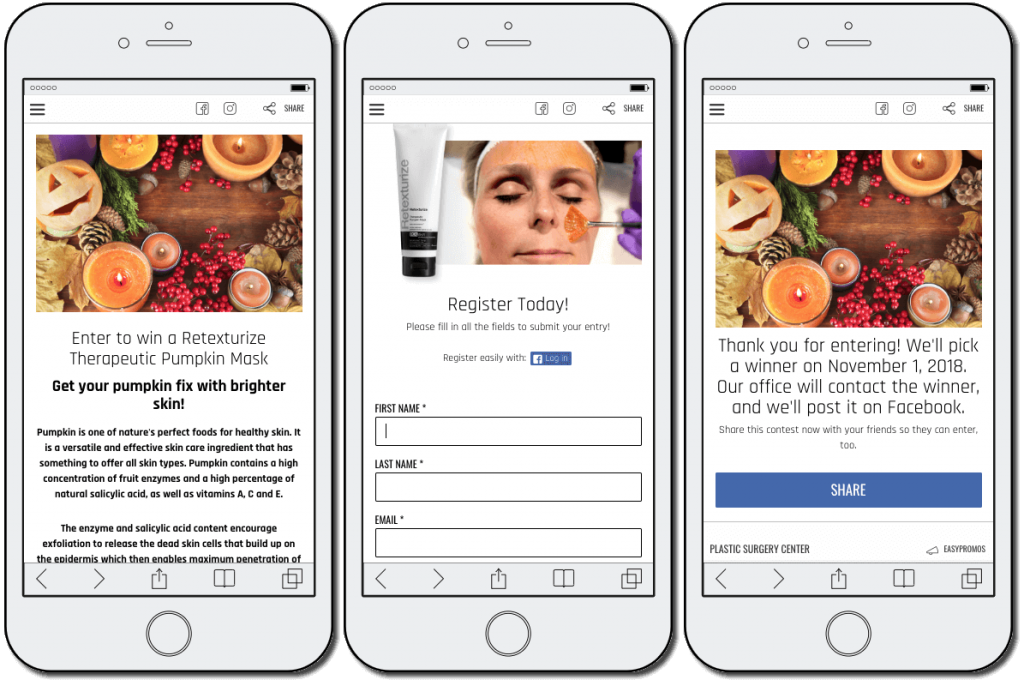 "Another example of a World Health Day giveaway. The image shows 3 mobile screenshots. The first screenshot has a bright photo of candles, autumn fruits, and pumpkins. The title reads: ""Enter to win a retexturize therapeutic pumpkin mask"". The second screen shows a woman applying the mask, and a registration form for users' names and email addresses. The third screenshot thanks users for entering, and tells them to check Facebook on November 1st for the giveaway results."