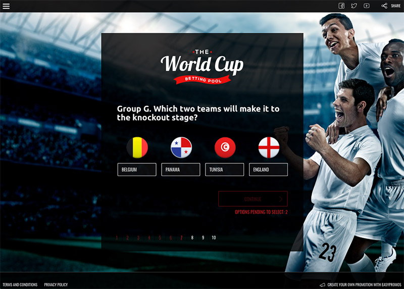 "Example of an online soccer betting pool. The background image shows three men in white soccer uniforms celebrating in a stadium. The quiz question reads, ""Group G. Which two teams will make it to the knockout stage"". Possible answers: Belgium, Panama, Tunisia and England."