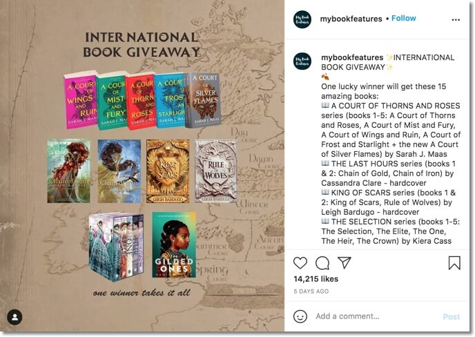 book bundle giveaway on instagram
