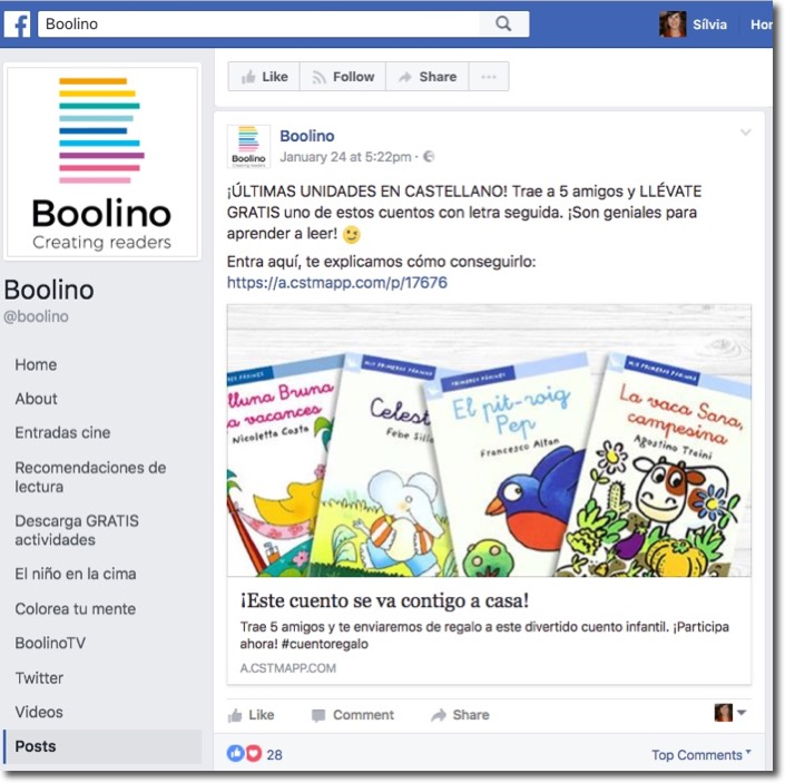 Screenshot of the Boolino recruitment contest installed as a Facebook Tab.