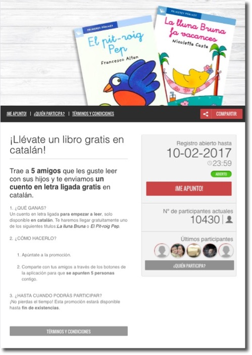 Screenshot of the Boolino recruitment contest home page. The banner image shows several books available for young readers. The text below explains how to enter, with a countdown to the end of the contest and a live list of participants.