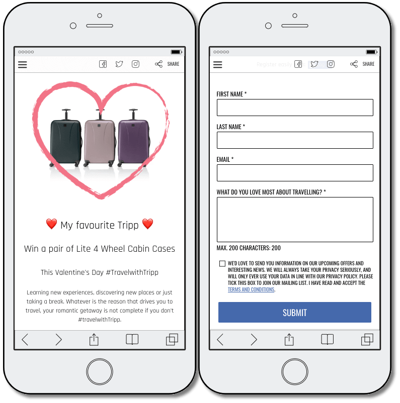Example of a giveaway promotion. In exchange for name, email address, and reason for travel, this luggage brand is giving away a pair of suitcases for Valentine's Day.