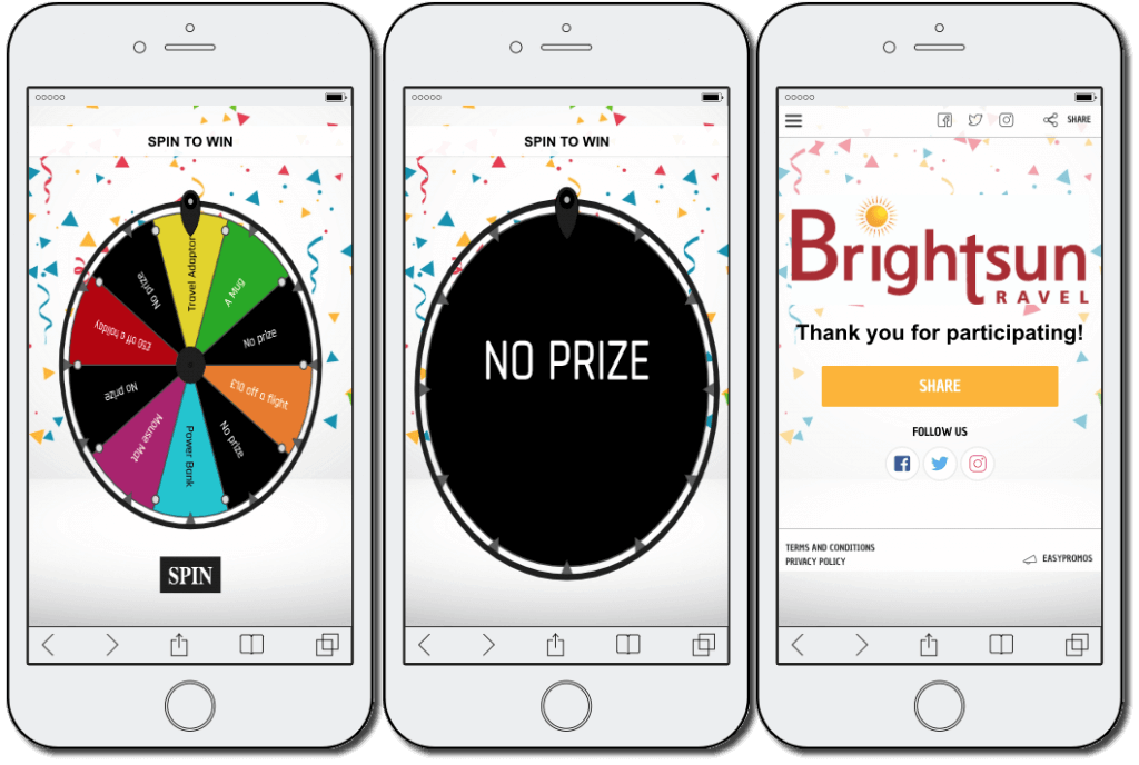 customer retention: brightsun spin the wheel