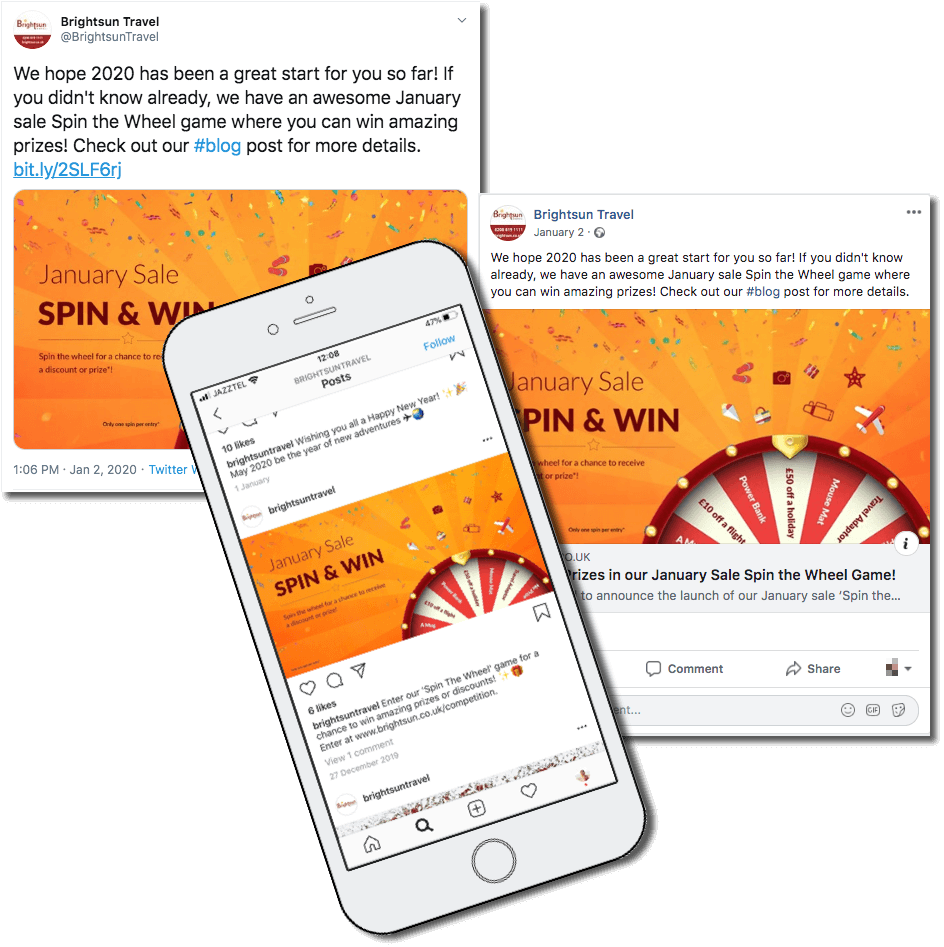 integrated marketing campaign, example of how brightsun travel shared the promotion on social media