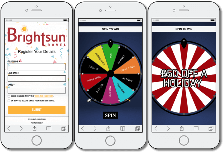 integrated marketing campaign, example of a spin the wheel promotion from brightsun travel