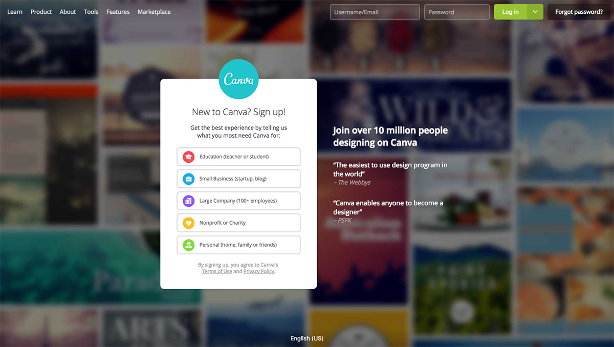 Image of Canva homepage