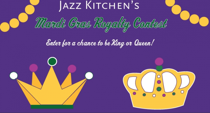 "Banner announcing a live carnival costume contest. The image shows 2 crowns, with the title ""Jazz Kitchen's Mardi Gras Royalty Contest. Enter for a chance to be King or Queen!"""