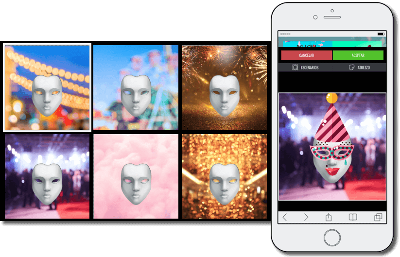 scenes app example: promotion launched by a shopping center, image with 6 different backgrounds ready to be personalized with carnaval masks