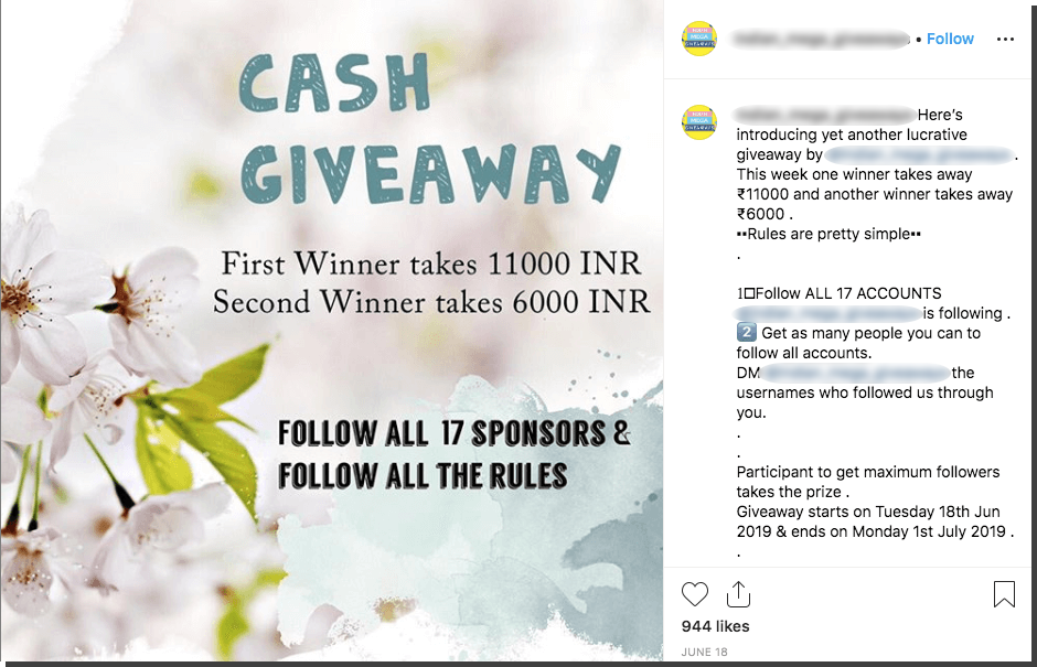 Screenshot of a cash giveaway on Instagram. Winners are promised up to 11,000 Indian rupees. Users have to follow 17 different accounts and recruit all their friends.