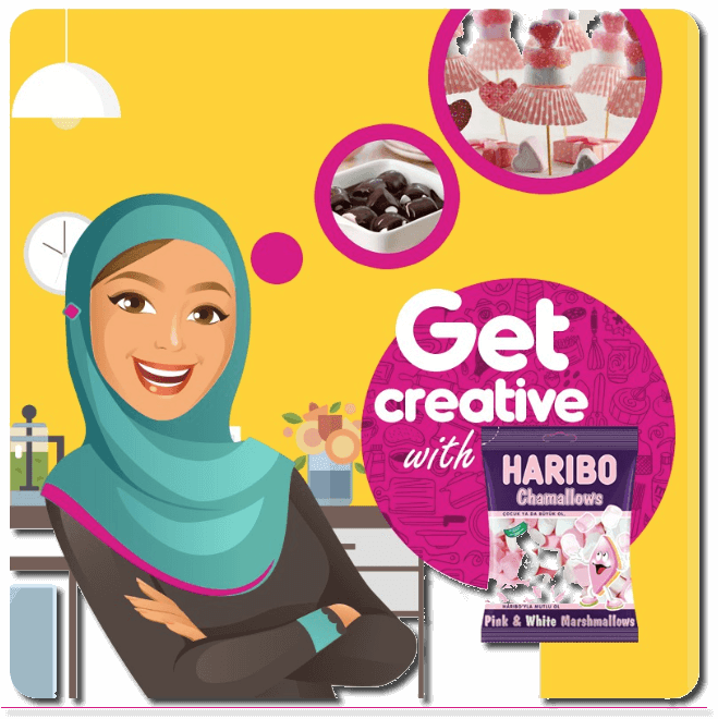 "The image shows a smiling, cartoon woman in hijab standing in a kitchen. Thought bubbles floating above her head show chocolate and marshmallow treats. The main text reads: ""Get creative with Haribo Chamallows""."