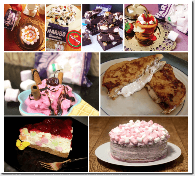 Photo gallery of online recipe contest entries for Haribo Chamallows. For example, there is a chocolate cake topped with marshmallows, a marshmallow ice cream sundae, and marshmallow French toast, among other recipes.