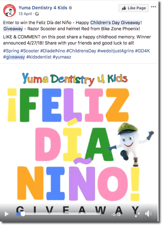 Children's Day giveaway idea Facebook giveaway