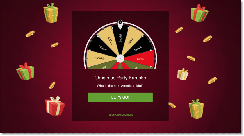 virtual christmas party: christmas prize wheel