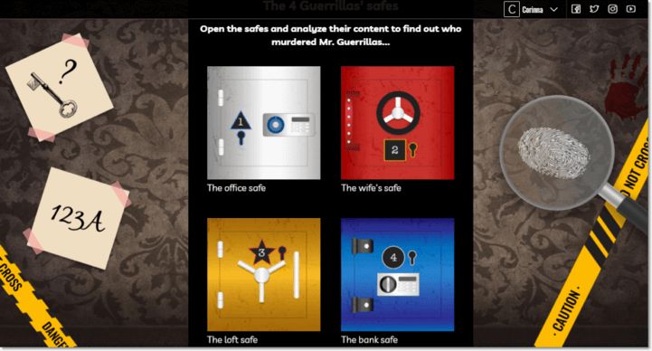 Screenshot of the first stage of the classic escape room. Users are invited to open 4 safes - the office safe, the wife's safe, the loft safe and the bank safe. Each safe contains a puzzle which contributes to the solution of the game.