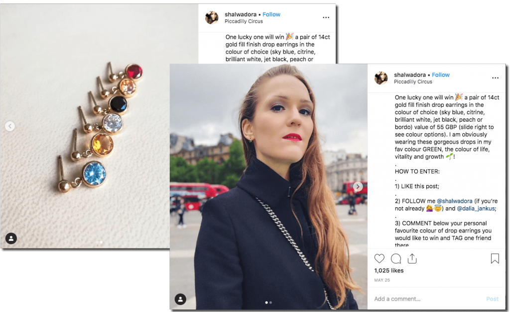 Screenshot of an Instagram giveaway to promote a fashion collection. The carousel of images show a young woman in a dark blue coat wearing a small jewelled earring, and a set of 6 earrings with different color gemstones. The caption explains that users can win a pair of earrings when they like, follow, tag, and comment with their favorite gemstone.