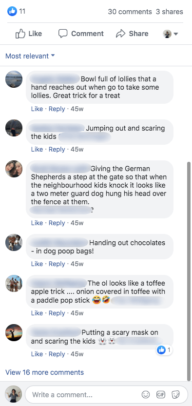 Sample of comments from Halloween promotions on Facebook. Users suggest tricks such as wearing masks, creating fake toffee apples, and handing out chocolates in dog poop bags.