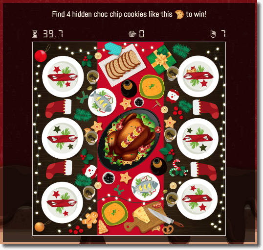 hidden objects game: example of a christmas game where users look for four hidden cookies